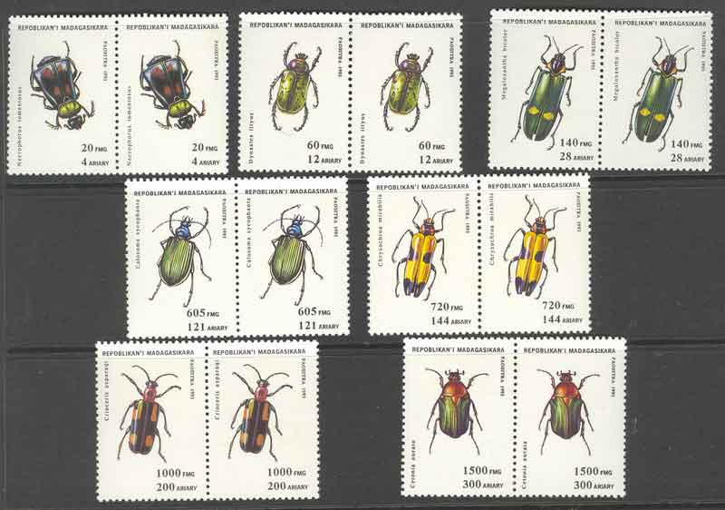 Madagascar 1995 Insects Pairs MUH Lot9395