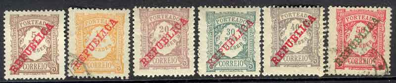 Portugal 1910 Postage Due 5-50r (6) MH/FU Lot9400