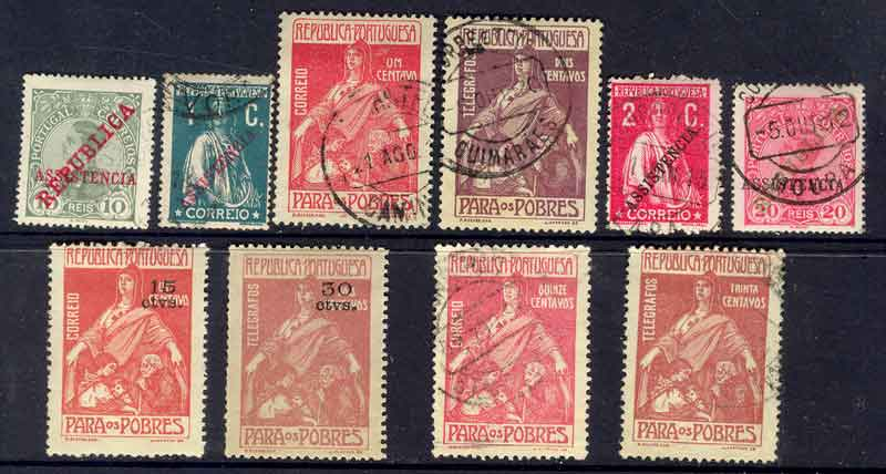 Portugal 1911-25 Postal Tax & Telegraph (10) MH/FU Lot9405