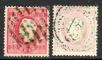 Portugal 1870-84 25r Rose, 100r pale lilac FU Lot9411