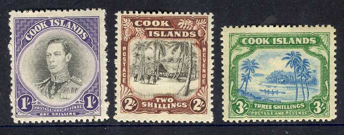 Cook Is 1938 1/-.2/-,3/- MH Lot9749