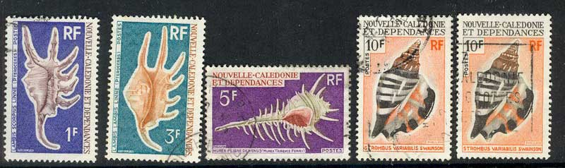 New Caledonia 1968 Shells AsstFU Lot9851