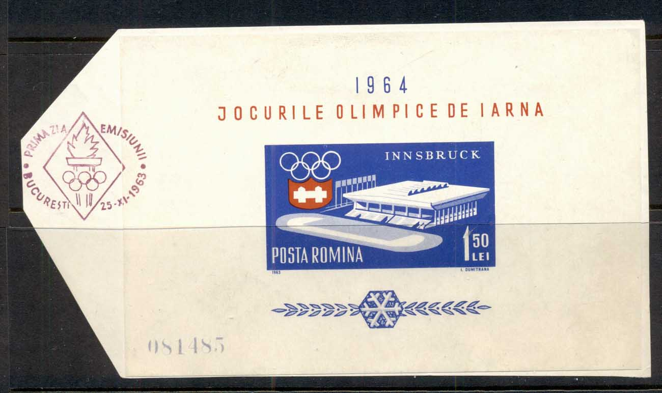 Romania 1963 Winter Olympics Innsbruck MS on piece FDI FU