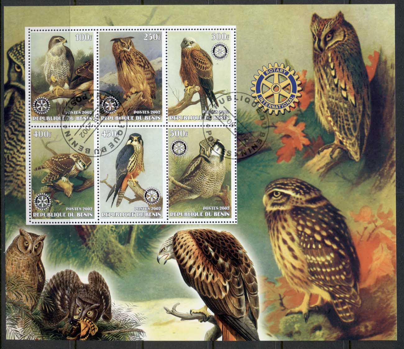 Benin 2002 Rotary, Birds of Prey, Owls MS CTO (Illegal Issue)