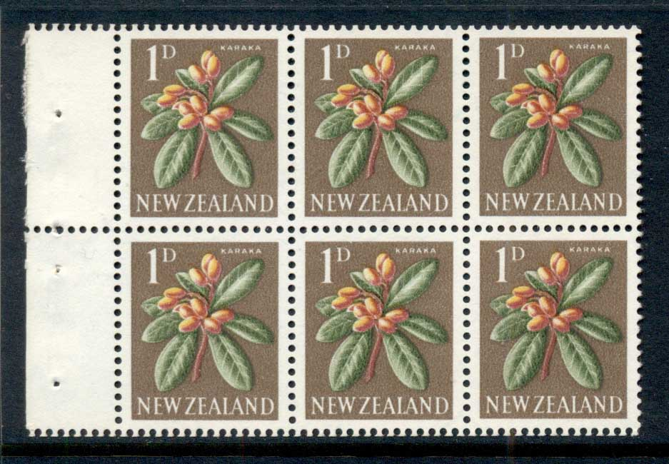 New Zealand 1960-66 1d Karaka Flower booklet pane MUH