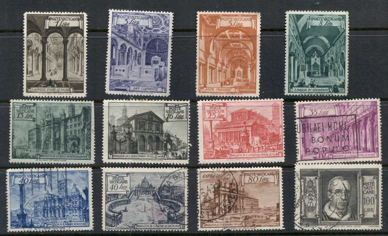 Vatican 1949 Basilica (faults, 80c thin) FU
