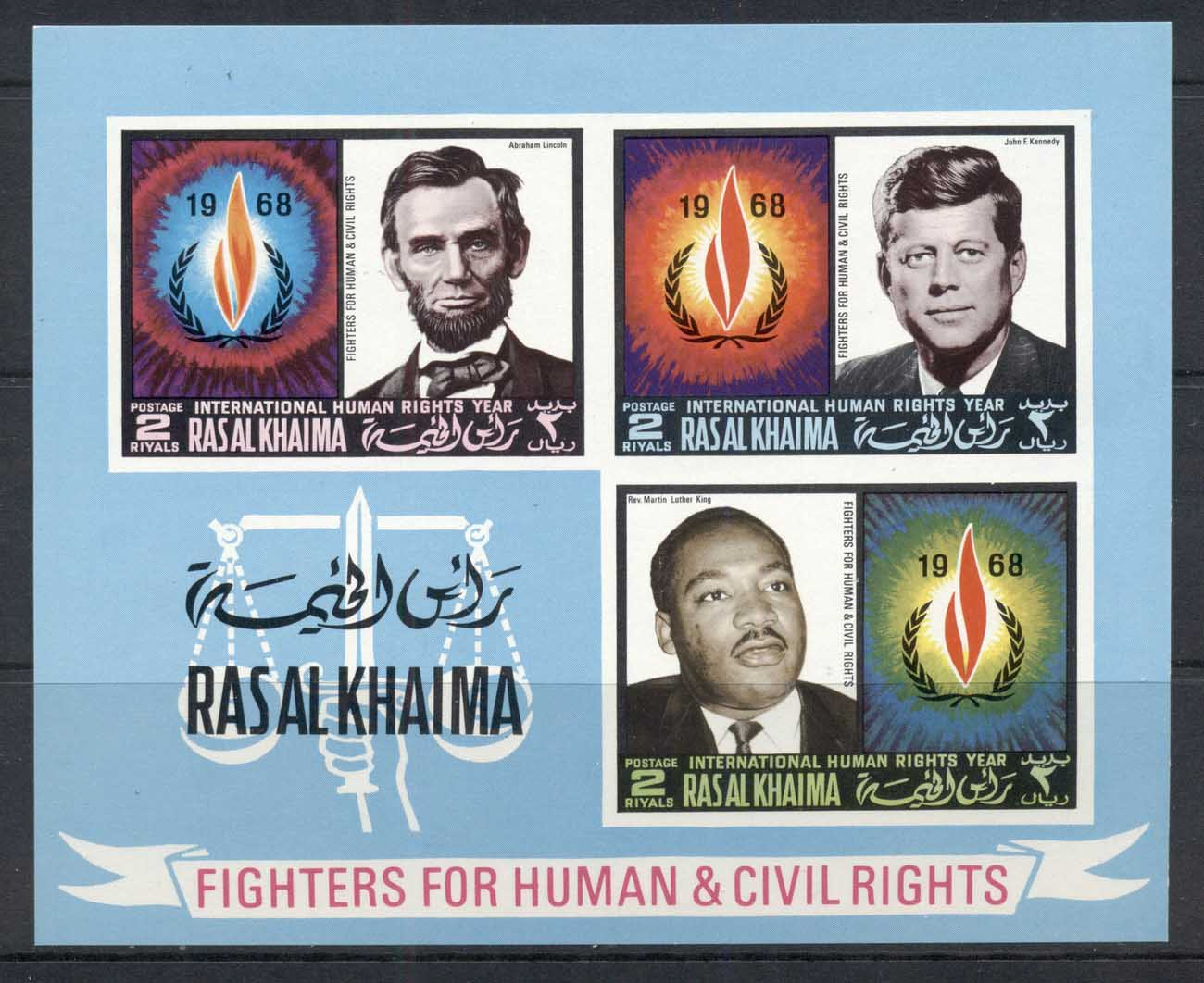 Ras Al Khaima 1968 Mi#MS41B International year of Human Rights, Lincoln, JFK kennedy, MLK King IMPERF MS MUH