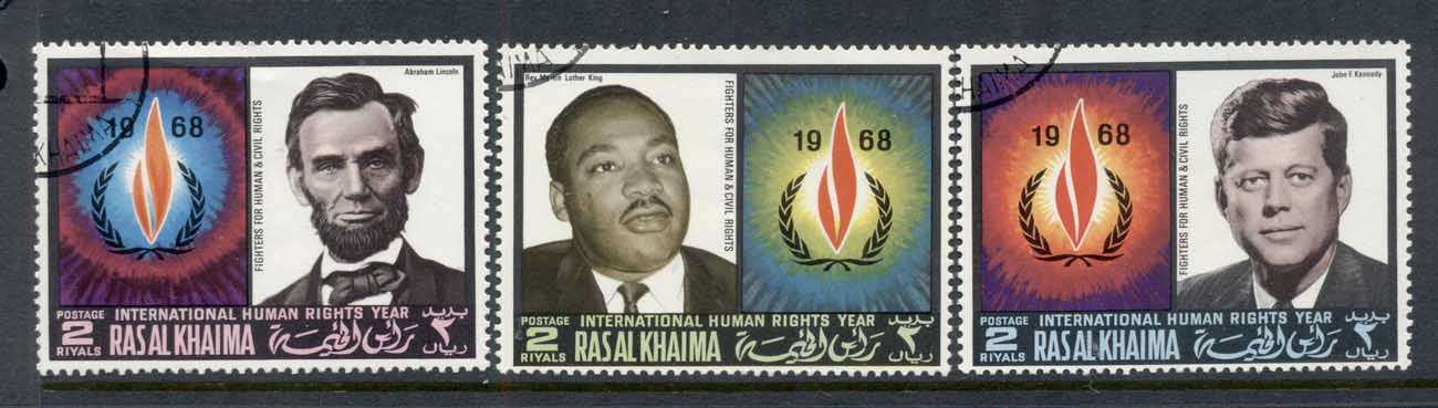 Ras Al Khaima 1968 Mi#226-228 International year of Human Rights, Lincoln, JFK kennedy, MLK King MUH