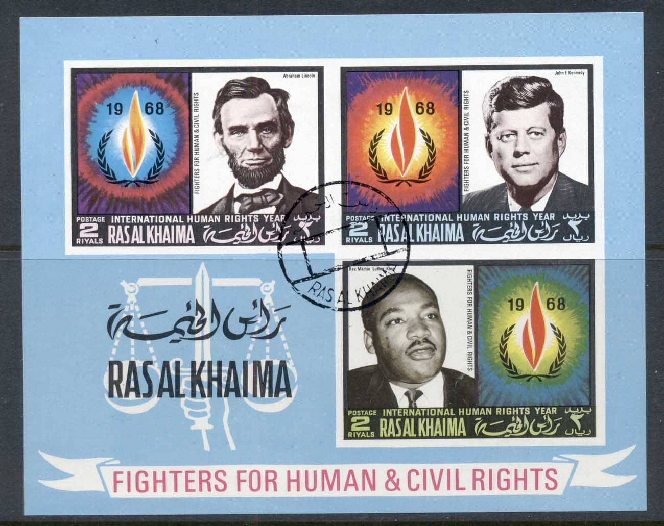 Ras Al Khaima 1968 Mi#MS41B International year of Human Rights, Lincoln, JFK kennedy, MLK King IMPERF MS CTO