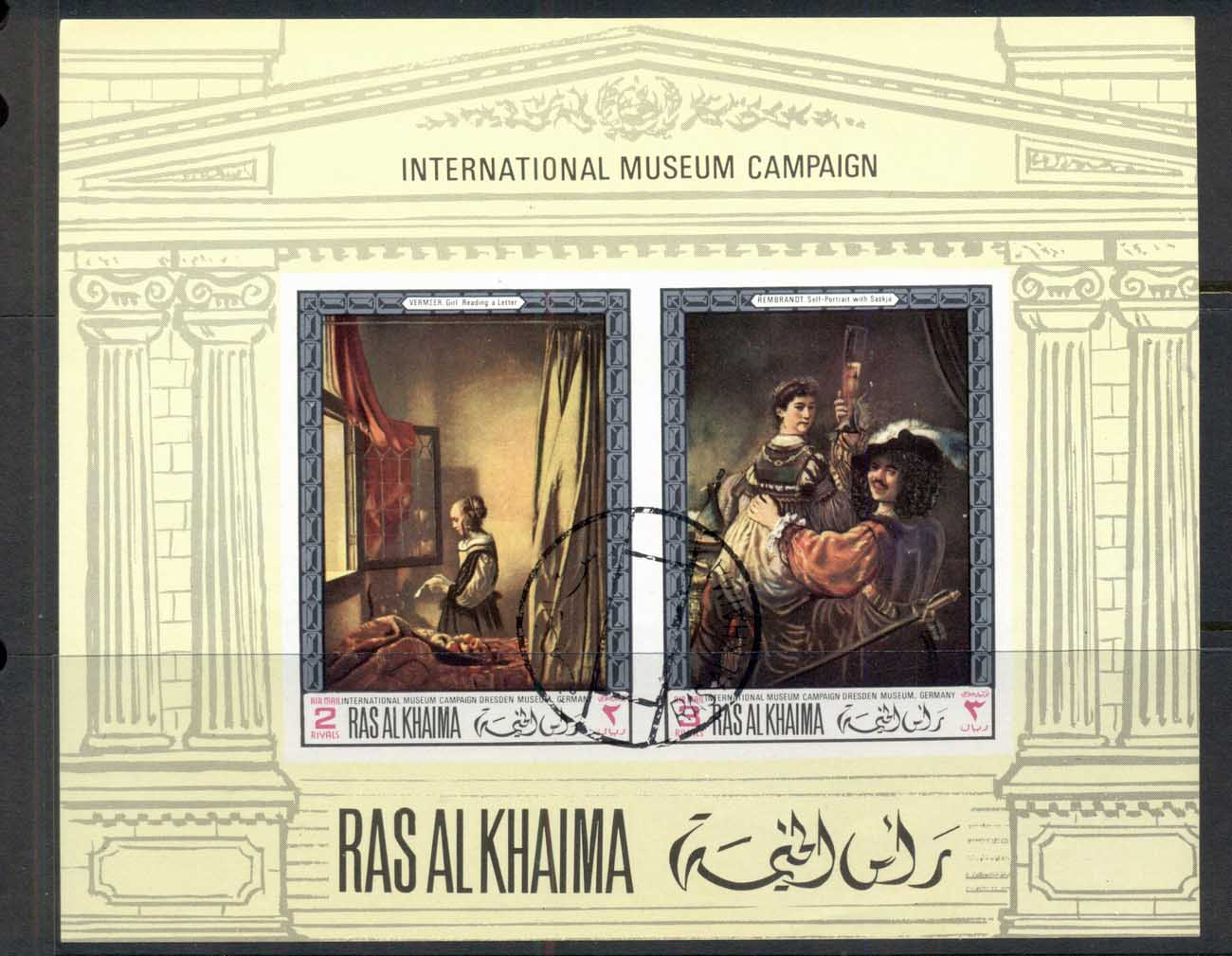 Ras Al Khaima 1968 Mi#MS43B Famous Paintings, International Museum Campaign IMPERF MS CTO