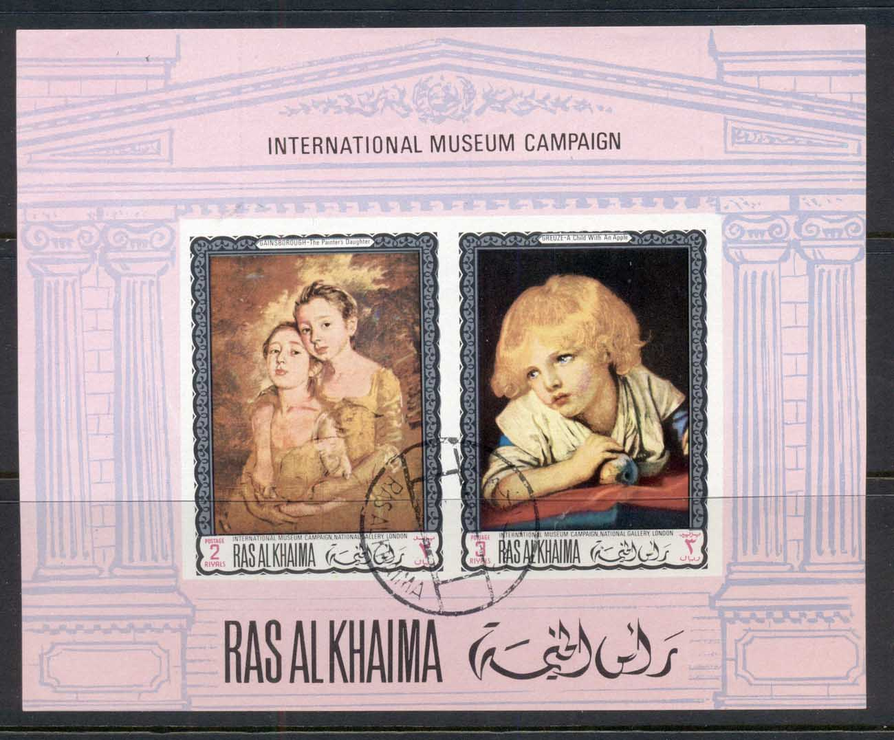 Ras Al Khaima 1968 Mi#MS44B Famous Paintings, International Museum Campaign IMPERF MS CTO