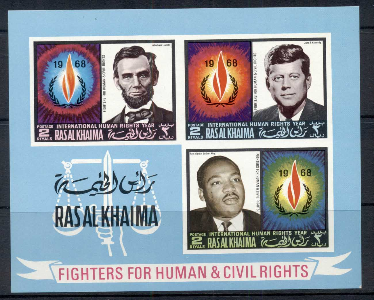 Ras Al Khaima 1968 Mi#MS41B International Year of Human Rights, Lincoln, Kennedy, King IMPERF MS MUH