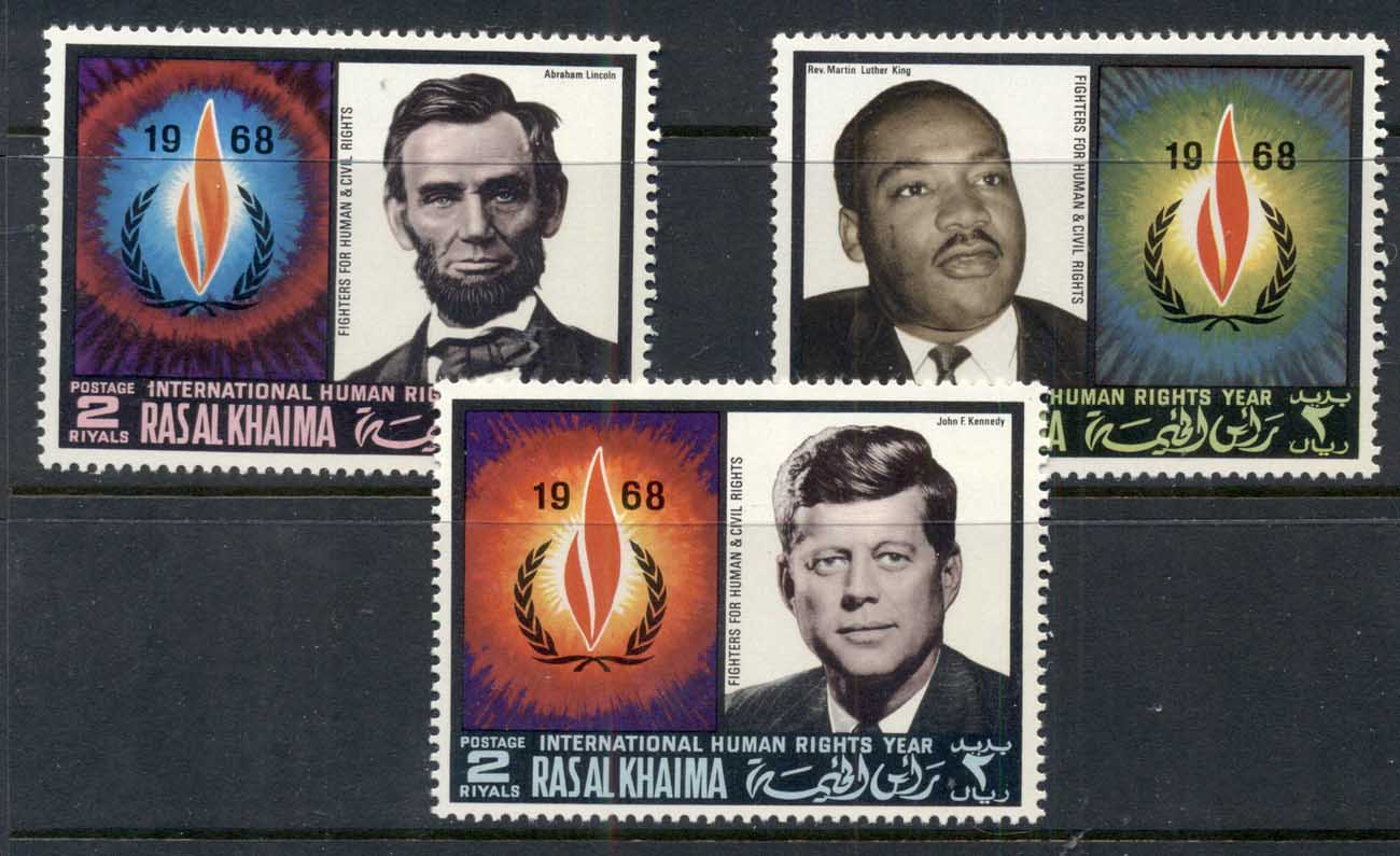 Ras Al Khaima 1968 Mi#226-228 International Year of Human Rights, Lincoln, Kennedy, King MUH