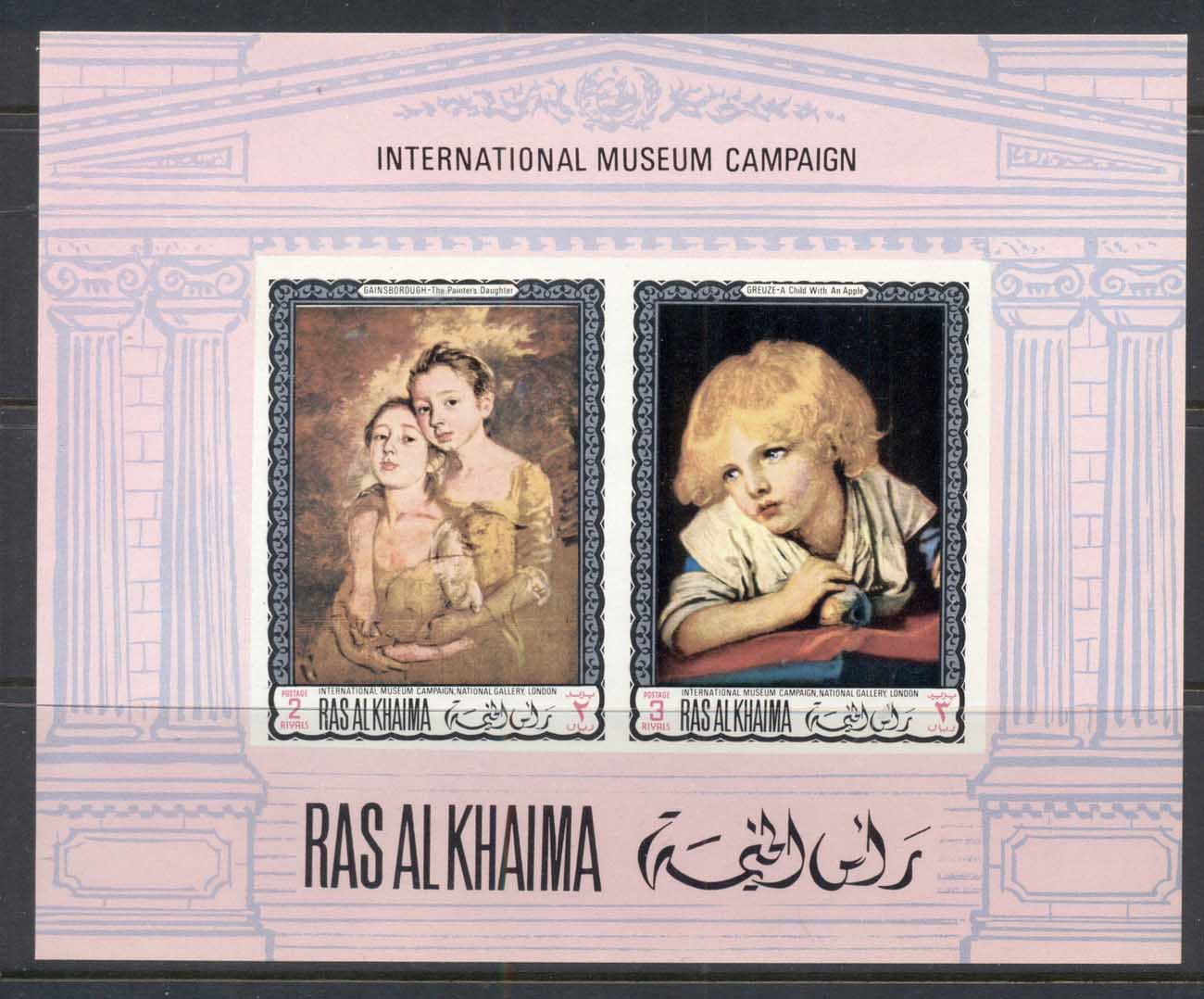Ras Al Khaima 1968 Mi#MS44B International Museum Campaign MS IMPERF MUH