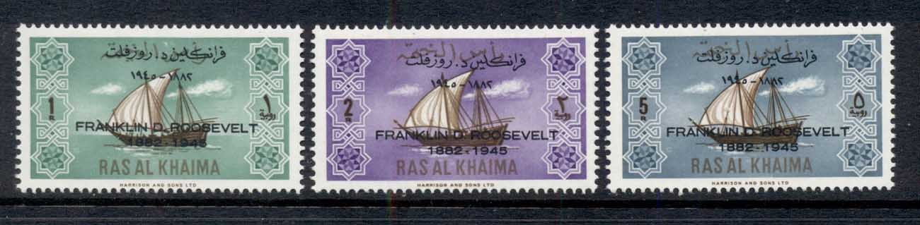 Ras Al Khaima 1965 Mi#27-29 Ship Definitives Opt FDR Roosevelt MUH