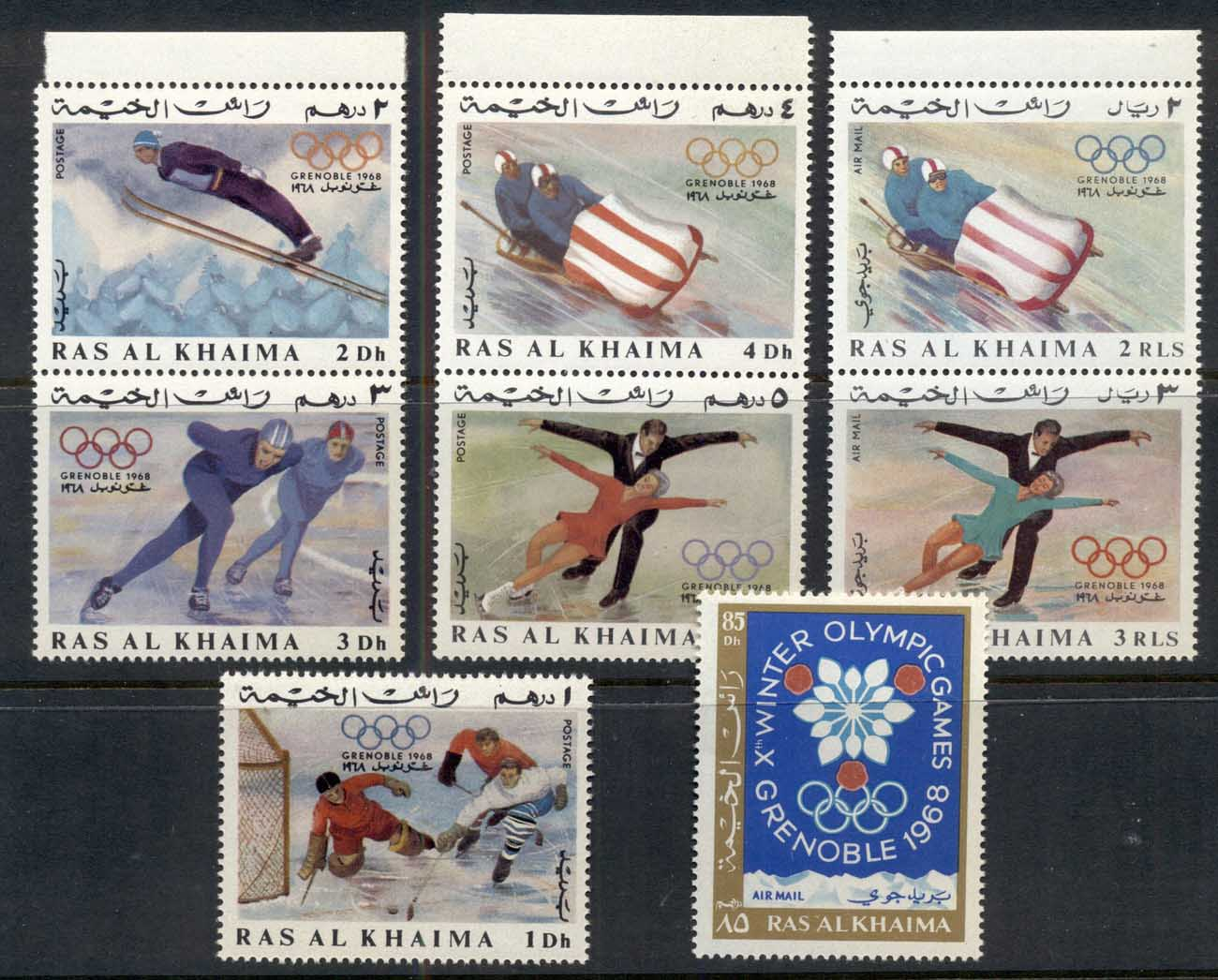 Ras Al Khaima 1967 Mi#209-216 Winter Olympics Grenoble Opt MUH