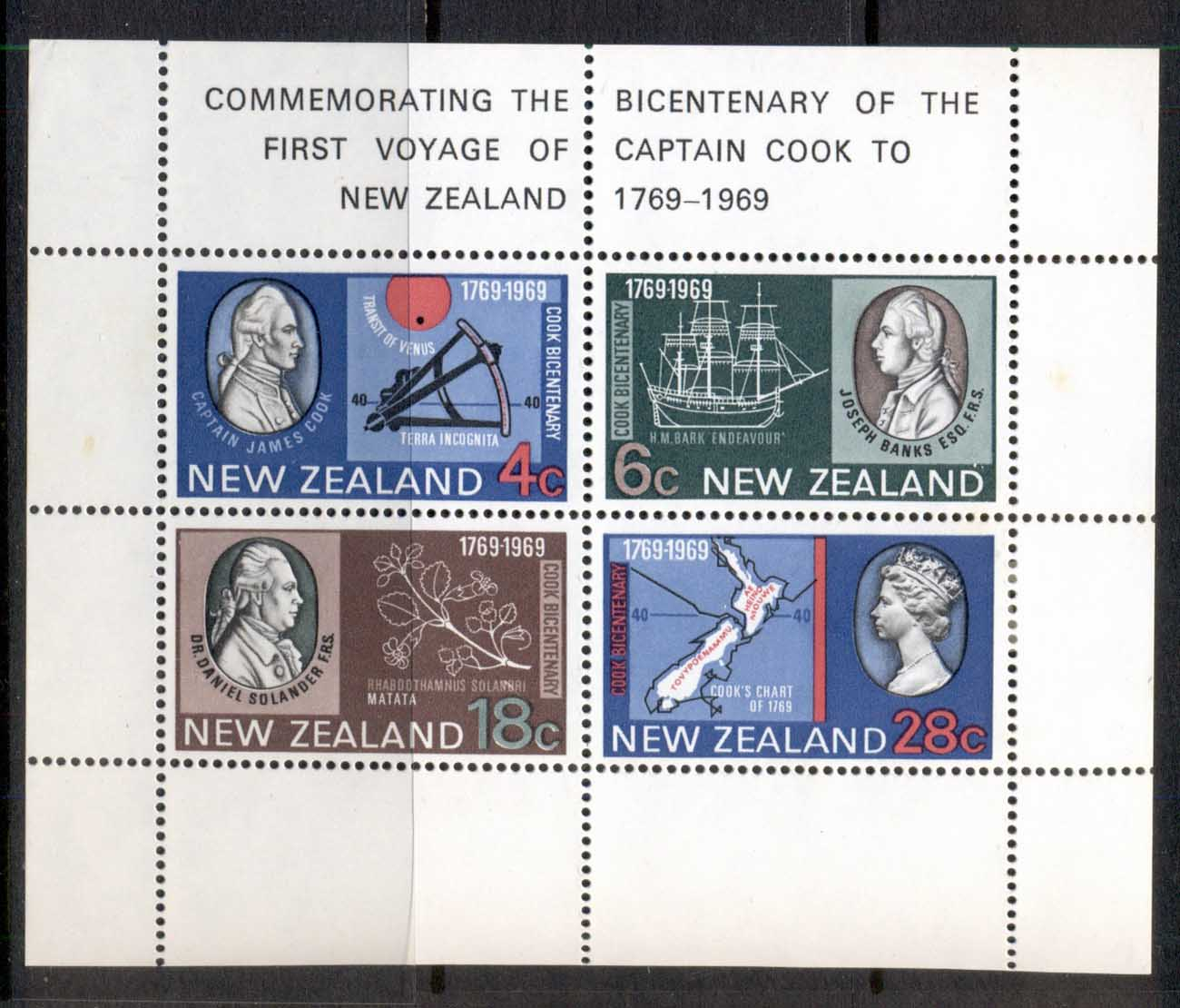 New Zealand 1969 Cook Bicentenary (light tones) MS MUH