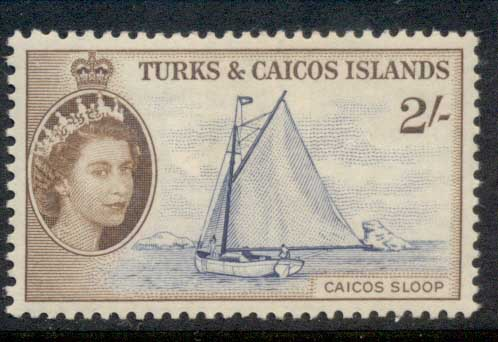 Turks & Caicos Is 1957-60 QEII Pictorial, 2/- Caicos Sloop MLH