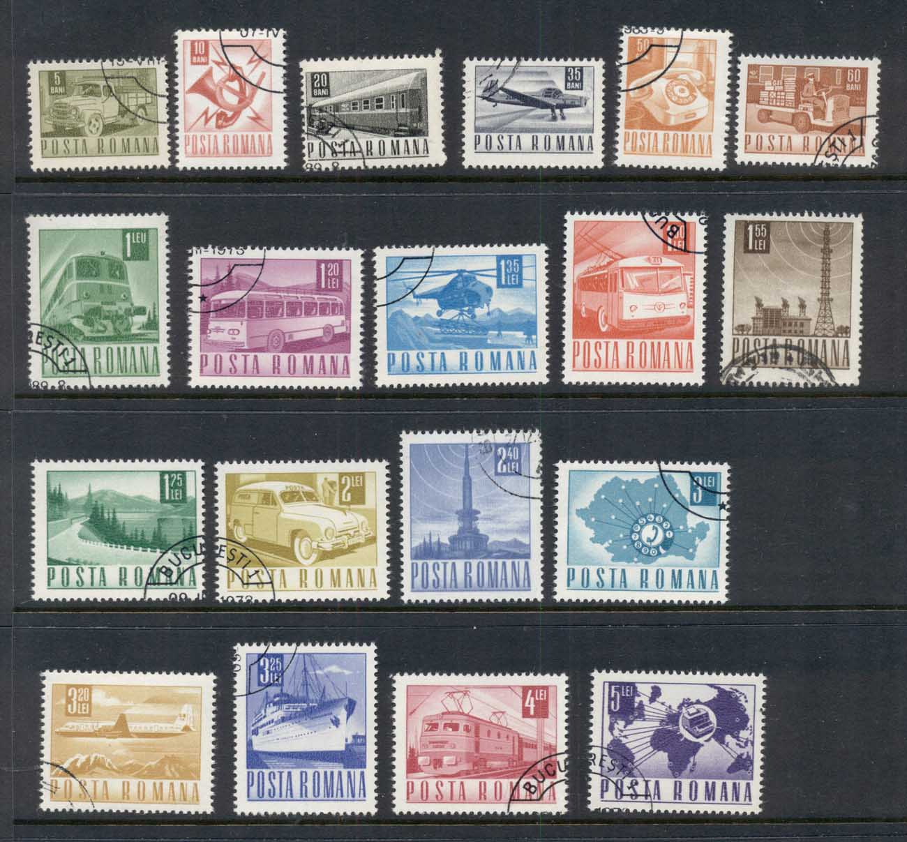 Romania 1967-67 Transport & Communications (19/22, no 40, 55, 60b, 1.6l) CTO