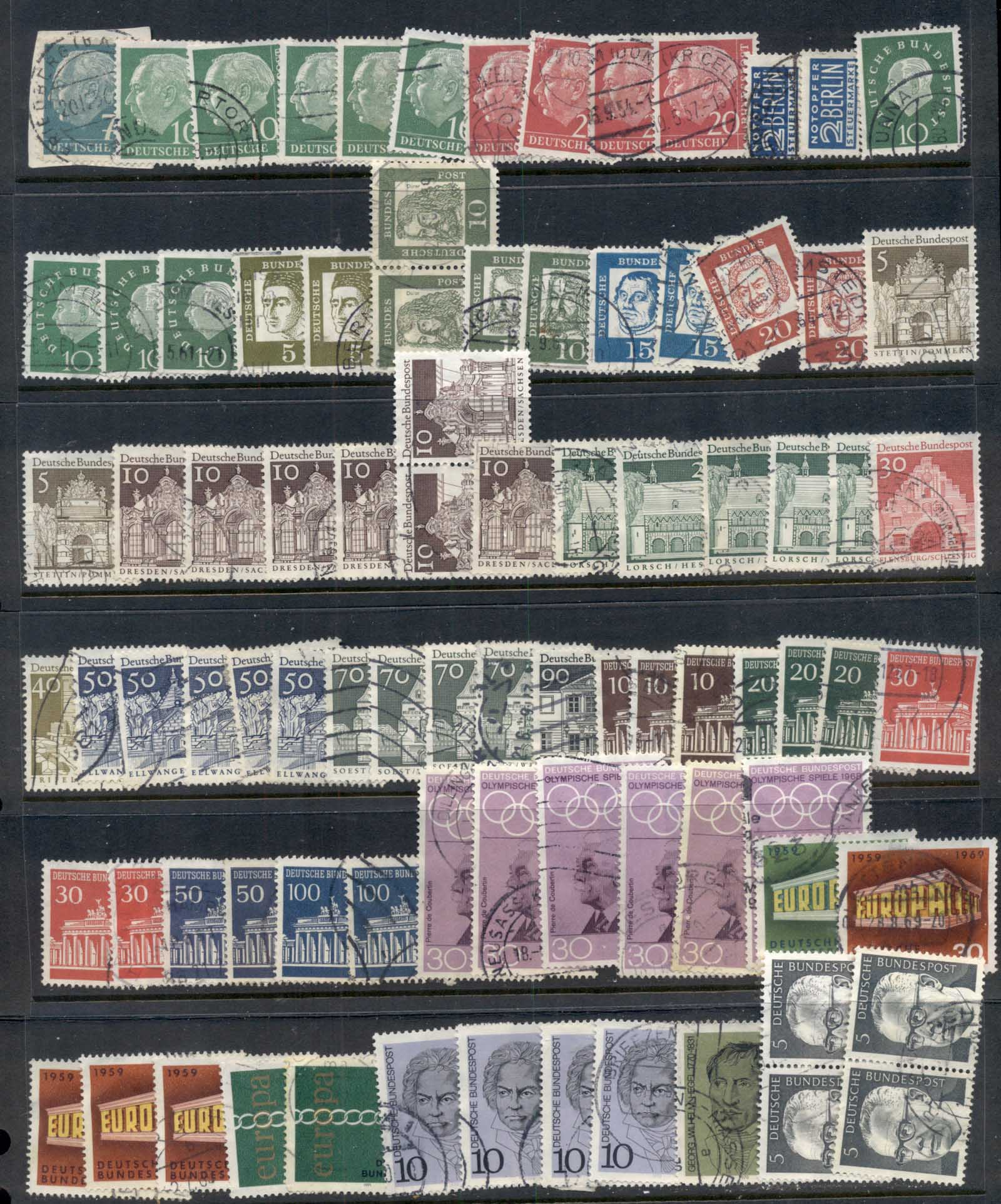 Germany 195-'s on Assorted oddments inc. duplicates, multiples & blocks. Some Berlin