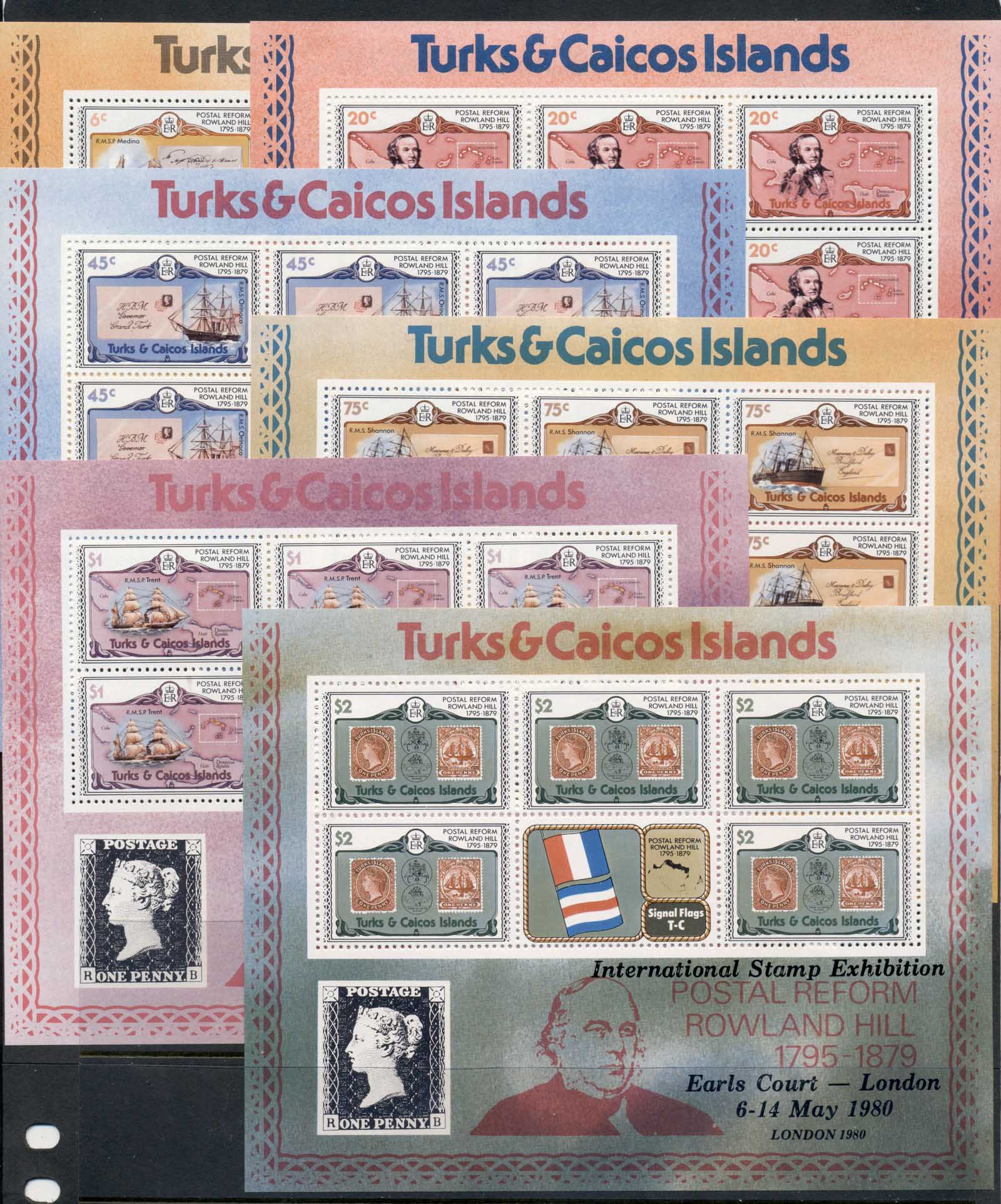 Turks & Caicos Is 1979 Sir Rowland Hill Death Centenary 6xsheetlet MUH