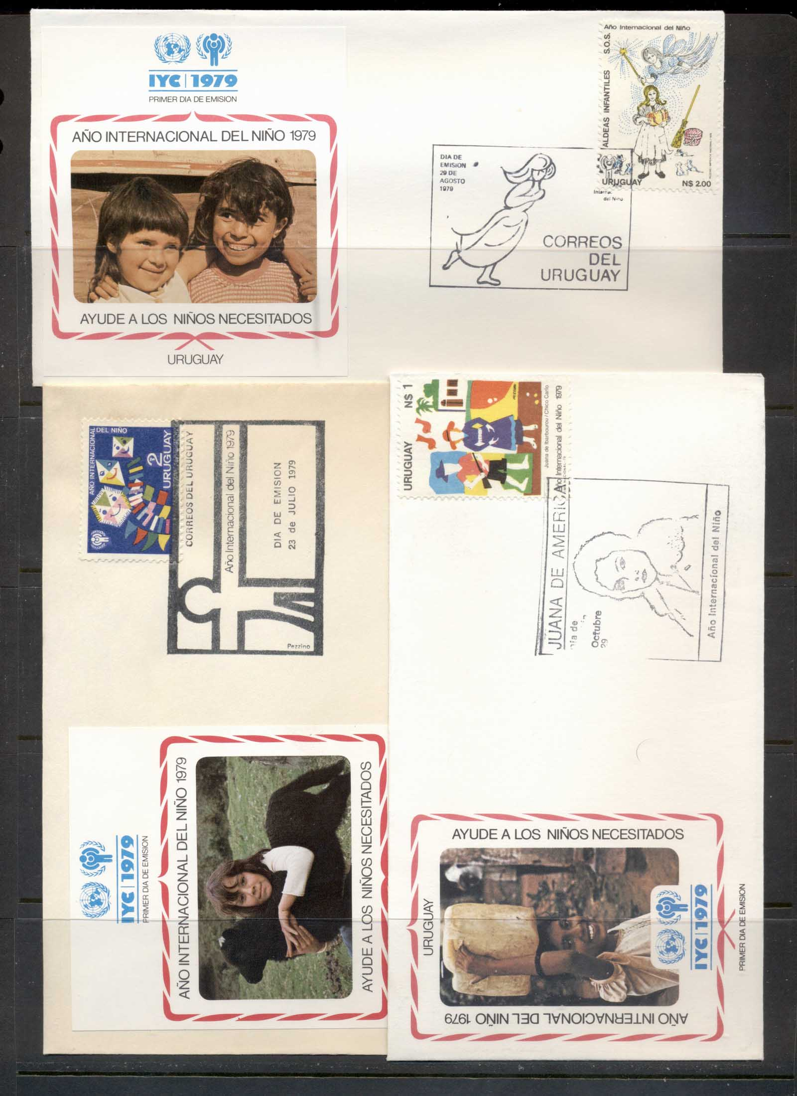 Uruguay 1979 IYC International year of the Child 3x FDC