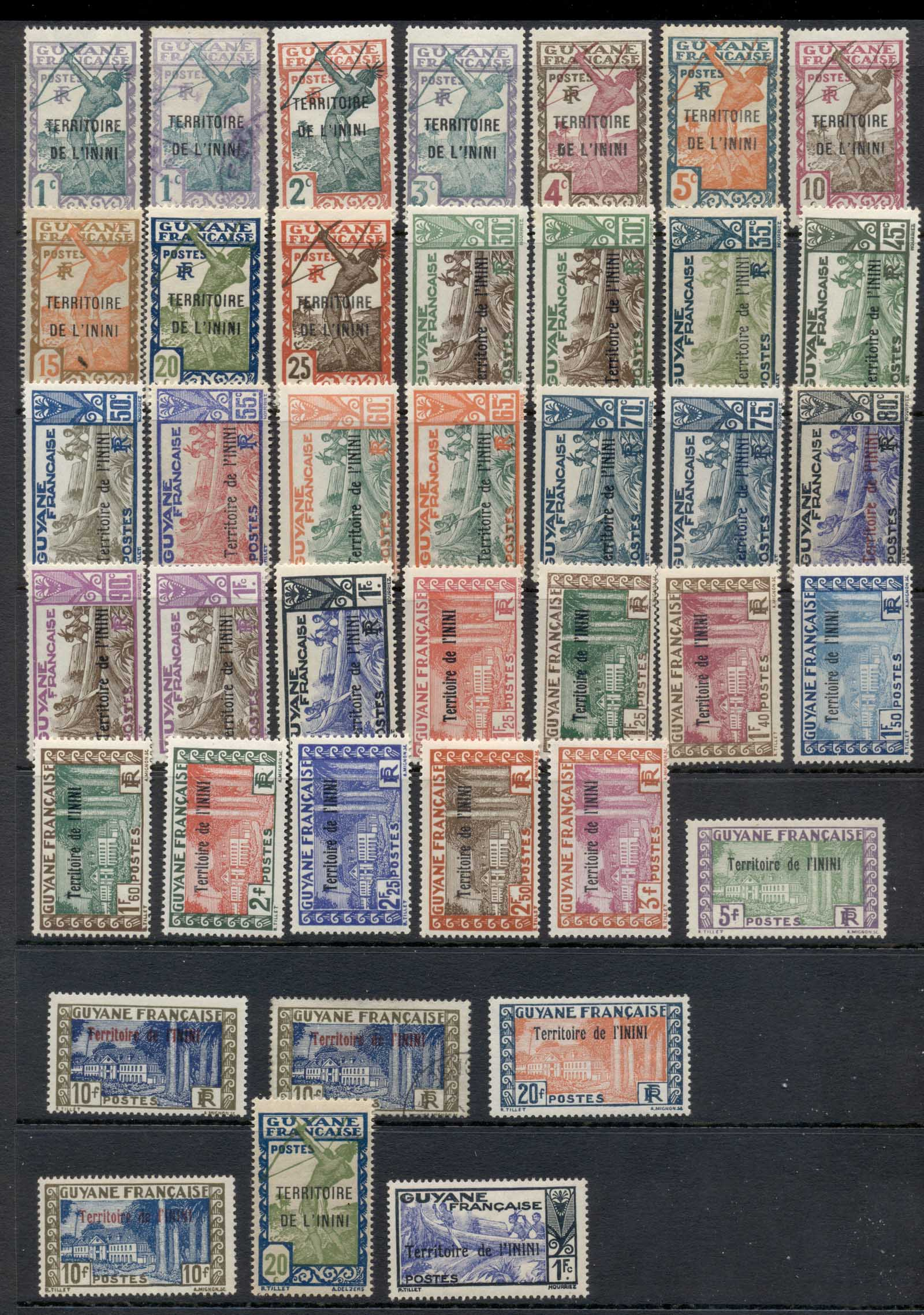 Inini 1932-44 Pictorials opt on French Guyana Asst MLH/FU