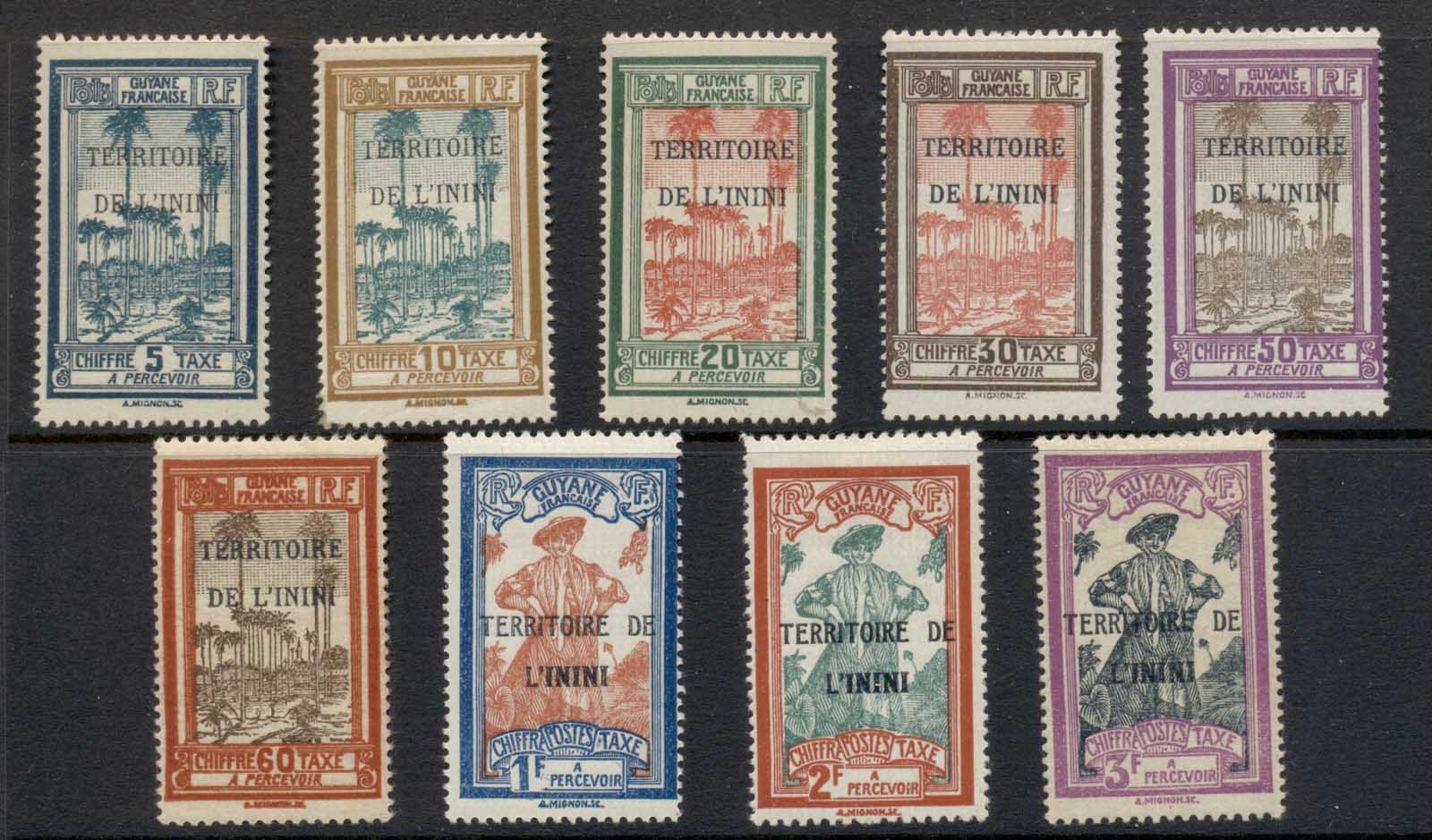 Inini 1932 Postage Dues (9/10, no 3f red opt) MLH