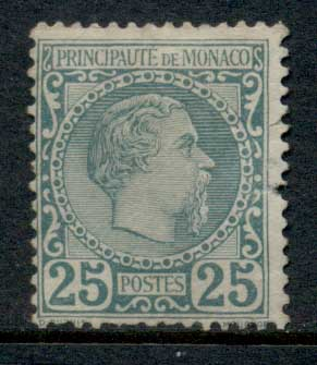 Monaco 1885 Prince Charles 25c green (pulled perfs RHS & short at bottom) MLH