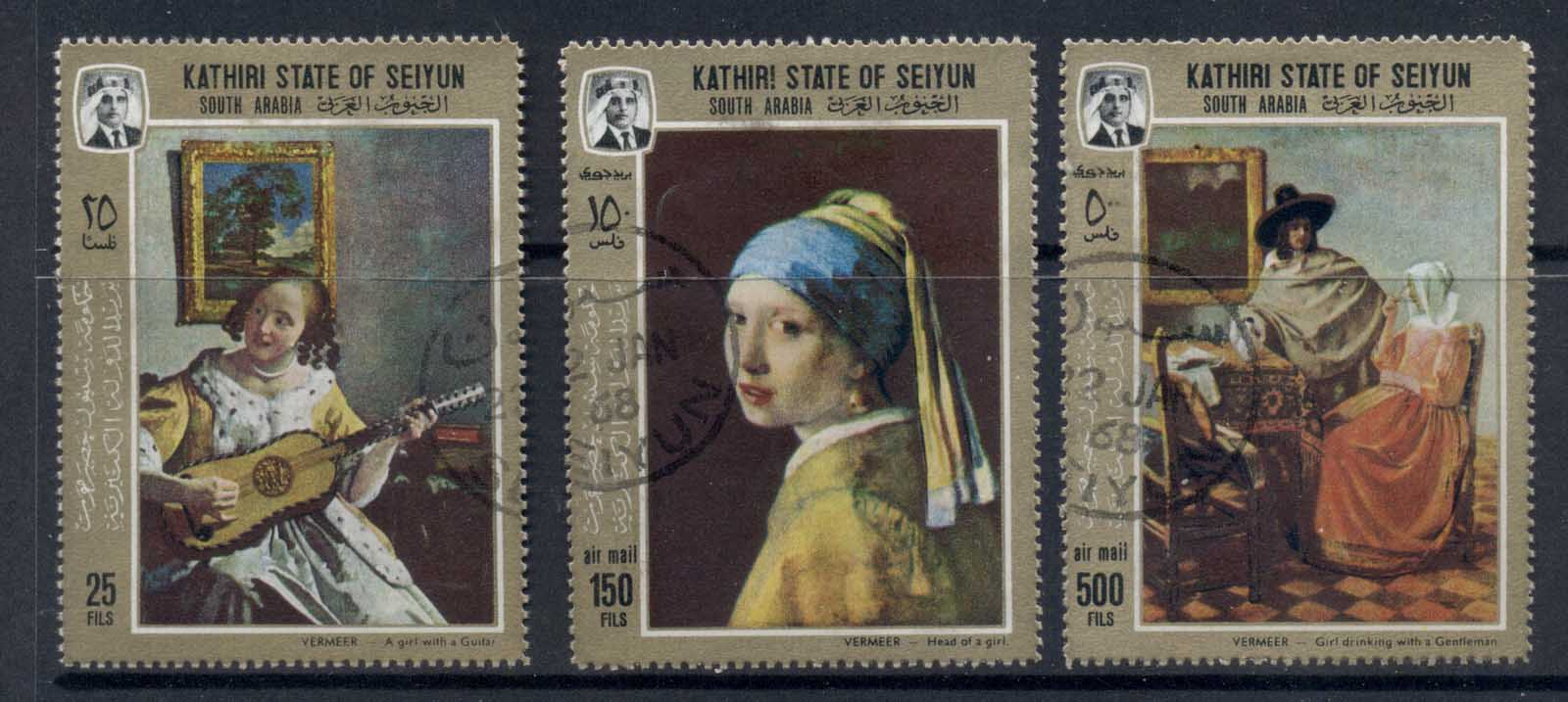 Aden Kathiri State of Seiyun 1967 Mi#160-162 Paintings by Jan Vermeer van Delft CTO