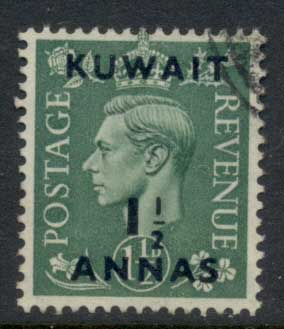 Kuwait 1950-51 KGVI Opt 1.5a on 1.5d FU