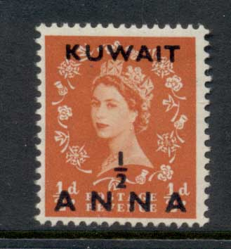 Kuwait 1952-54 QEII Wilding Opt 0.5a on 0.5d MLH