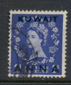 Kuwait 1952-54 QEII Wilding Opt 1a on 1d FU