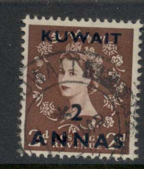 Kuwait 1952-54 QEII Wilding Opt 2a on 2d FU