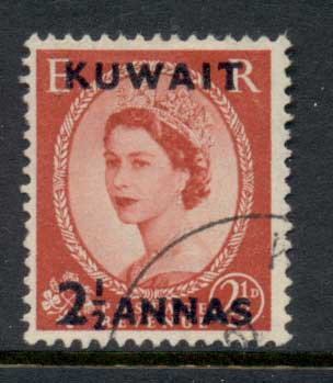 Kuwait 1952-54 QEII Wilding Opt 2.5a on 2.5d FU