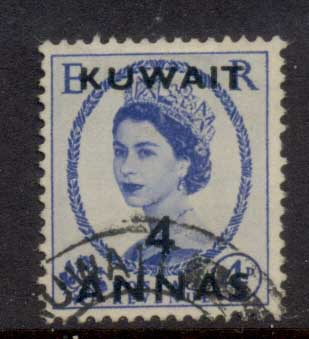 Kuwait 1956 QEII Wilding Opt 4a on 4d FU