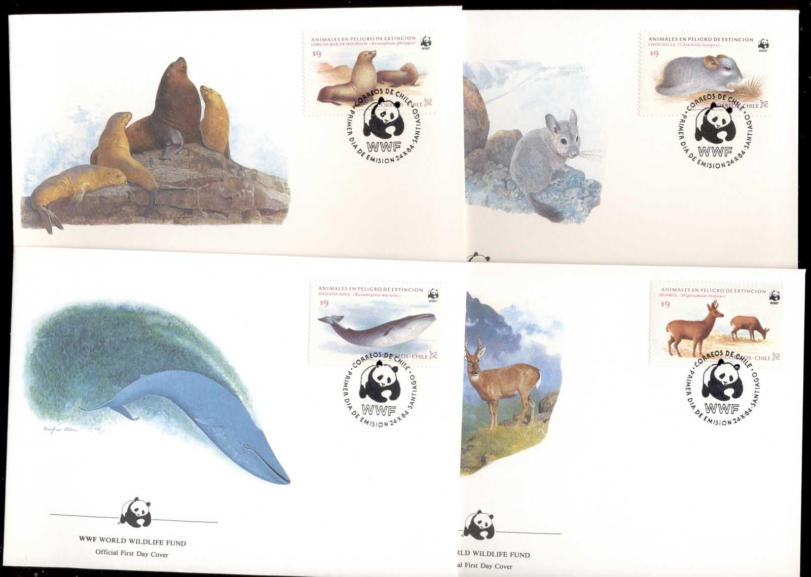 Chile 1984 WWF Endangered Wildlife, Whale, Seal 4xFDC