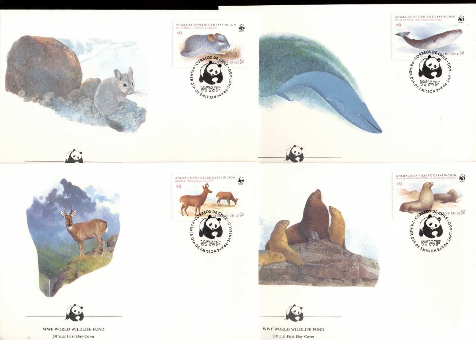 Chile 1984 Endangered Wildlife 4xFDC