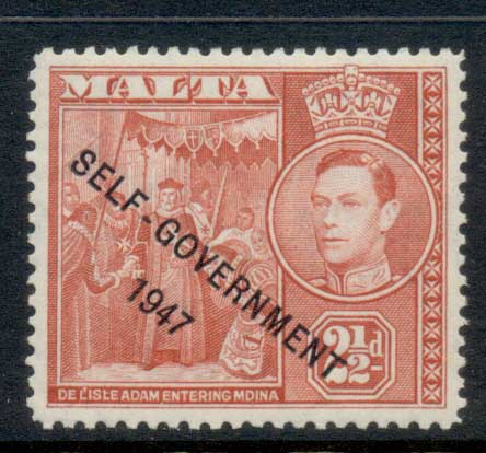 Malta 1953 KGVI Pictorial Opt Self Government 2.5d MLH