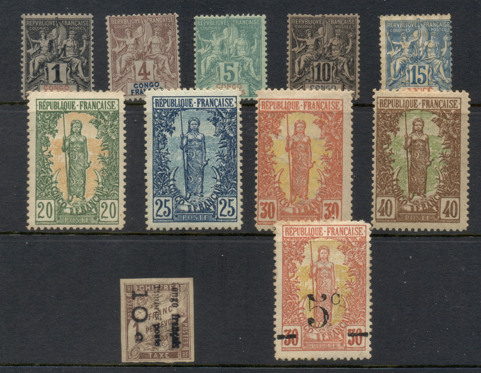 French Congo 1892 on Assorted Oddments (sold as is) MLH