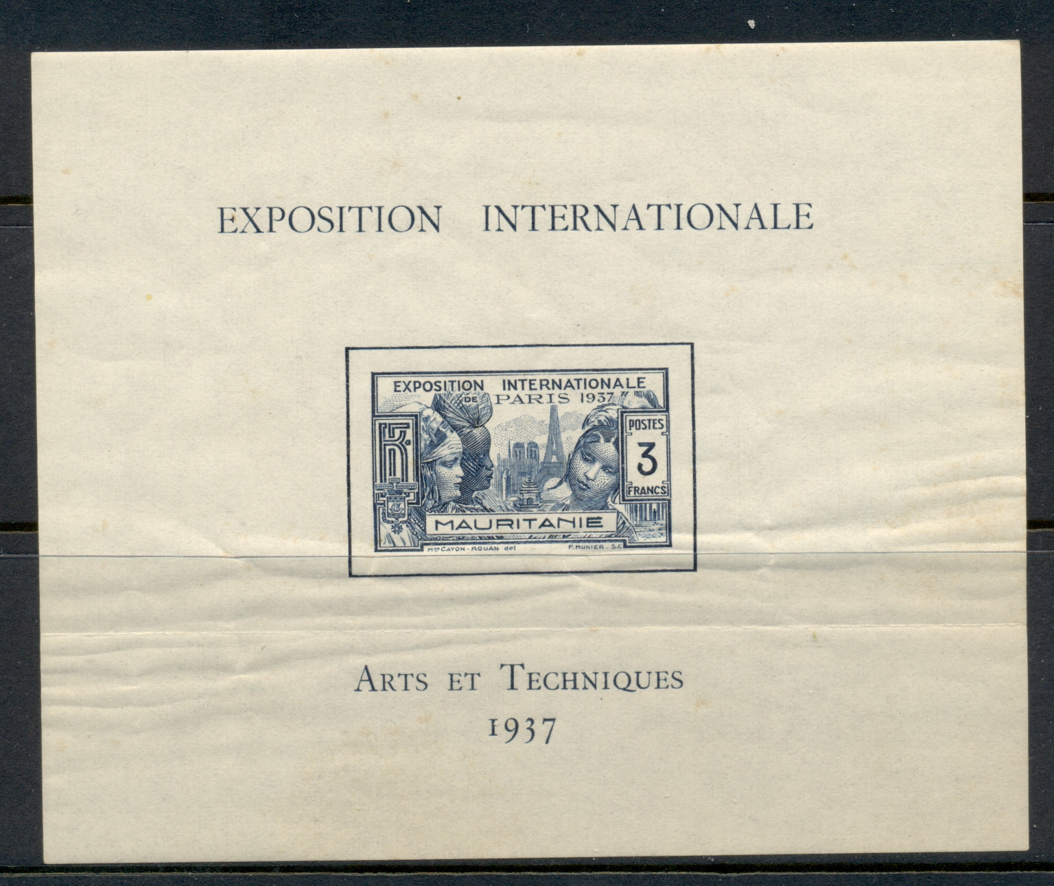 Mauritania 1937 Colonial Arts Exhibition (creased) MS MUH