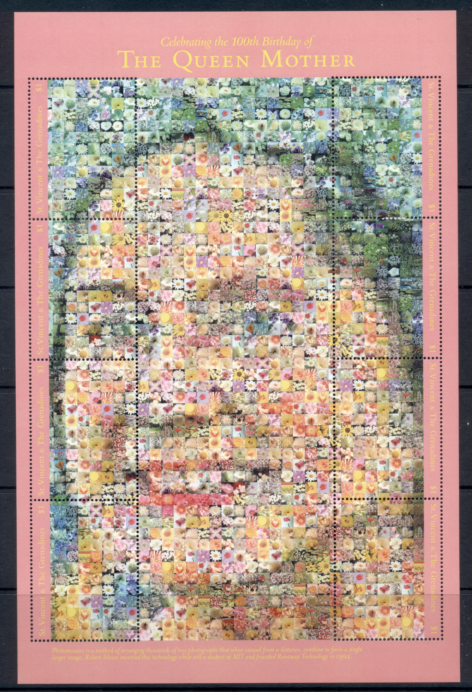 St Vincent Grenadines 2000 Queen Mother 100th Birthday photomosaic MS MUH