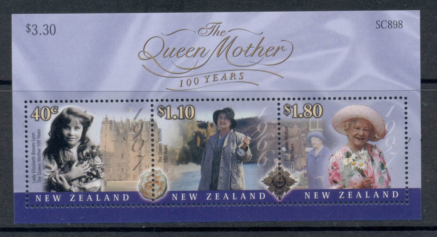 NZ 2000 Queen Mother 100th Birthday MS MUH