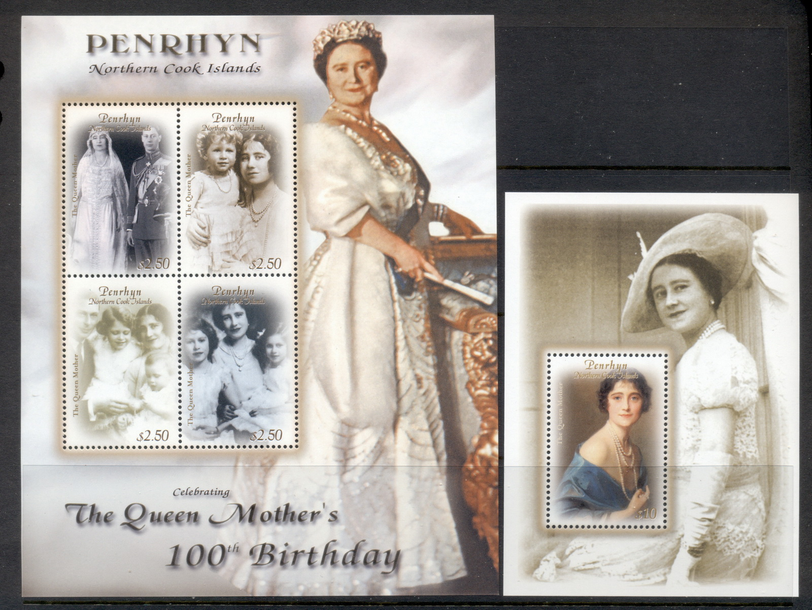 Penrhyn Is 2000 Queen Mother 100th Birthday 2xMS MUH