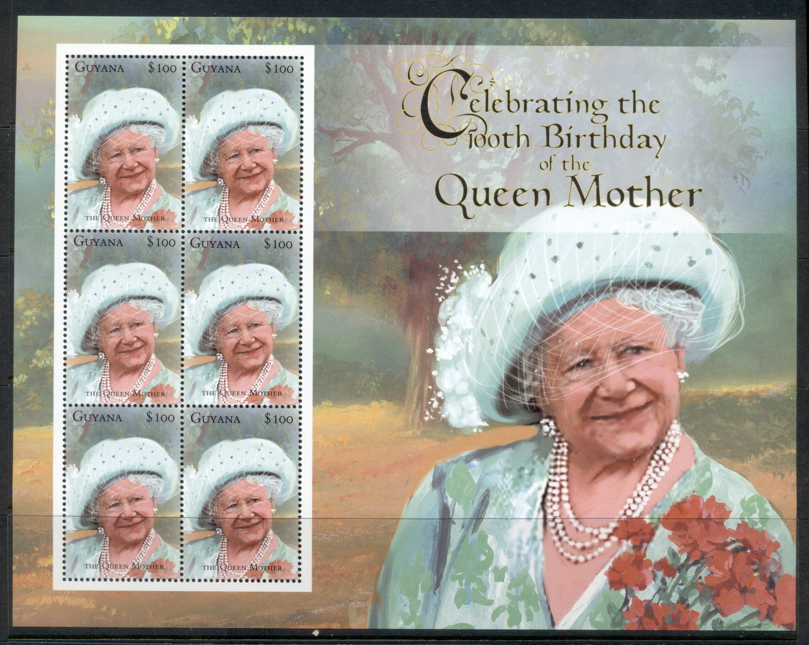 Guyana 2000 Queen Mother 100th Birthday MS MUH