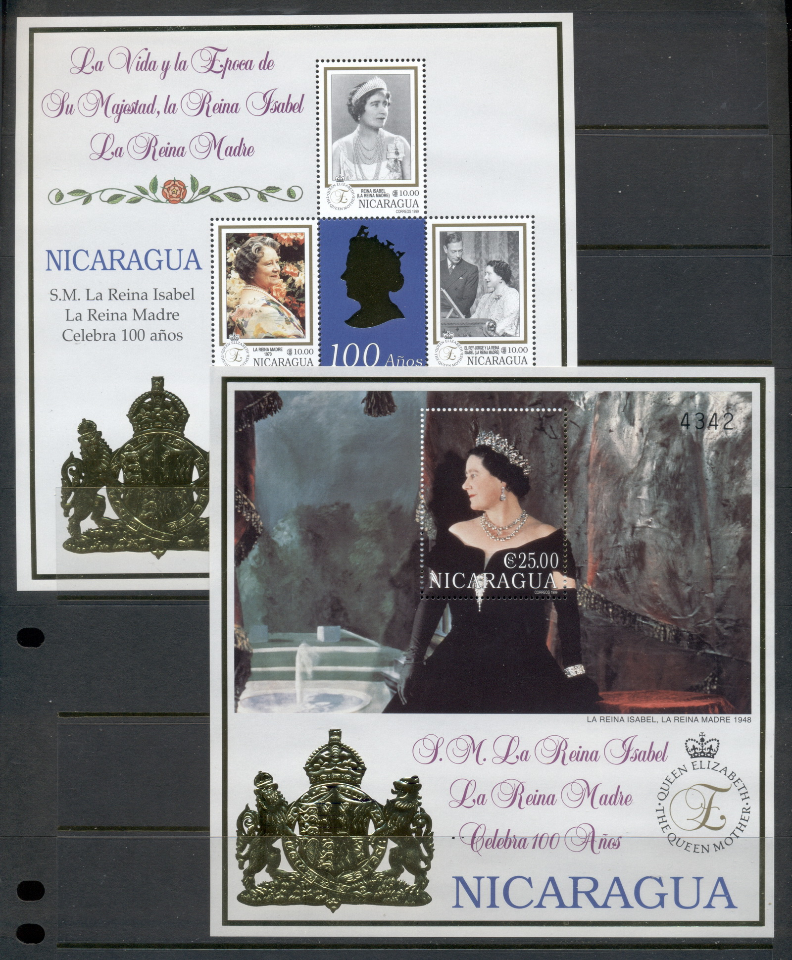 Nicaragua 1999 Queen Mother 100th Birthday gold foil embossed 2xMS MUH - Click Image to Close