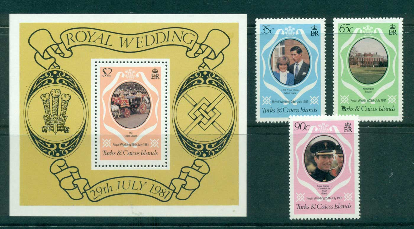 Turks & Caicos Is 1981 Charles & Diana Wedding + MS MUH Lot30279