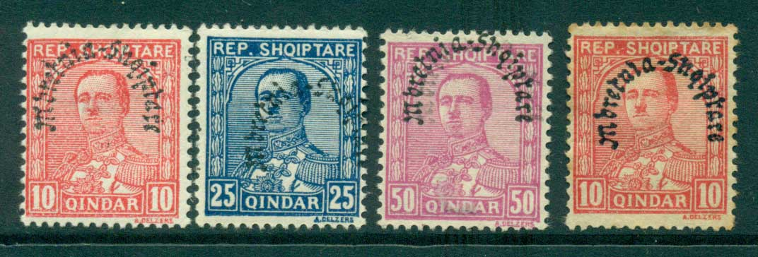 Albania 1928 King Zog Opt (one double 50q) 10,10,25,50 MH lot30998