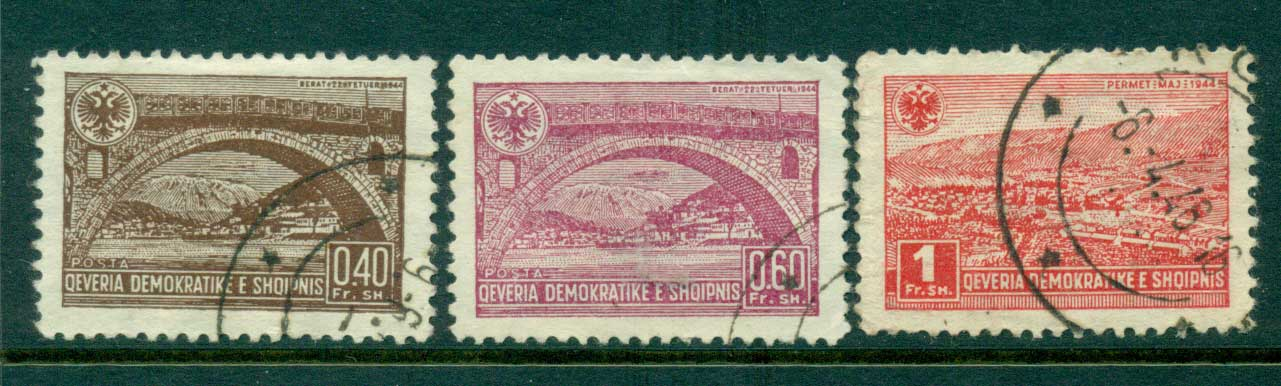 Albania 1945 40,60q, 1fr Views FU Lot31007