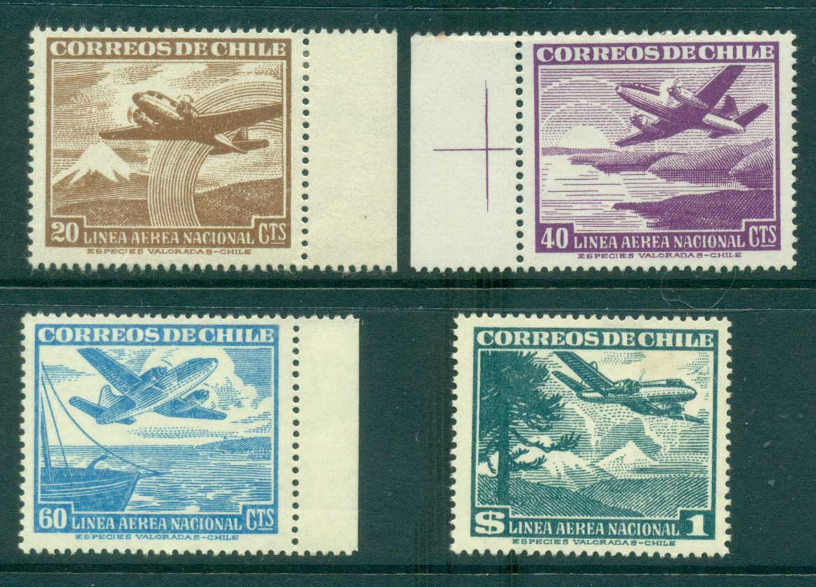 Chile 1946 Air mail Asst (4) MLH lot34755